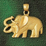 Elephant Charm Bracelet or Pendant Necklace in Yellow, White or Rose Gold DZ-2317 by Dazzlers