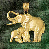 Elephant Charm Bracelet or Pendant Necklace in Yellow, White or Rose Gold DZ-2318 by Dazzlers