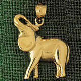 Elephant Charm Bracelet or Pendant Necklace in Yellow, White or Rose Gold DZ-2319 by Dazzlers