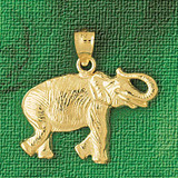 Elephant Charm Bracelet or Pendant Necklace in Yellow, White or Rose Gold DZ-2326 by Dazzlers