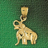 Elephant Charm Bracelet or Pendant Necklace in Yellow, White or Rose Gold DZ-2328 by Dazzlers