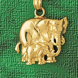 Elephant Charm Bracelet or Pendant Necklace in Yellow, White or Rose Gold DZ-2330 by Dazzlers