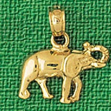 Elephant Charm Bracelet or Pendant Necklace in Yellow, White or Rose Gold DZ-2332 by Dazzlers