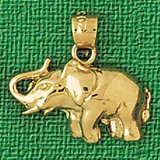Elephant Charm Bracelet or Pendant Necklace in Yellow, White or Rose Gold DZ-2333 by Dazzlers