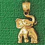 Elephant Charm Bracelet or Pendant Necklace in Yellow, White or Rose Gold DZ-2334 by Dazzlers