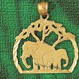 Elephant Charm Bracelet or Pendant Necklace in Yellow, White or Rose Gold DZ-2335 by Dazzlers