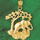 Elephant Charm Bracelet or Pendant Necklace in Yellow, White or Rose Gold DZ-2336 by Dazzlers