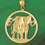 Elephant Charm Bracelet or Pendant Necklace in Yellow, White or Rose Gold DZ-2337 by Dazzlers