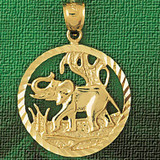 Elephant Charm Bracelet or Pendant Necklace in Yellow, White or Rose Gold DZ-2338 by Dazzlers