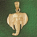 Elephant Head Charm Bracelet or Pendant Necklace in Yellow, White or Rose Gold DZ-2341 by Dazzlers