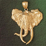 Elephant Head Charm Bracelet or Pendant Necklace in Yellow, White or Rose Gold DZ-2344 by Dazzlers