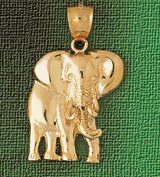 Elephant Charm Bracelet or Pendant Necklace in Yellow, White or Rose Gold DZ-2347 by Dazzlers