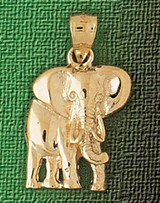 Elephant Charm Bracelet or Pendant Necklace in Yellow, White or Rose Gold DZ-2348 by Dazzlers