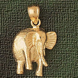 Elephant Charm Bracelet or Pendant Necklace in Yellow, White or Rose Gold DZ-2351 by Dazzlers