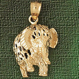 Elephant Charm Bracelet or Pendant Necklace in Yellow, White or Rose Gold DZ-2352 by Dazzlers