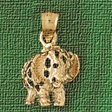 Elephant Charm Bracelet or Pendant Necklace in Yellow, White or Rose Gold DZ-2353 by Dazzlers