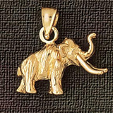 Elephant Charm Bracelet or Pendant Necklace in Yellow, White or Rose Gold DZ-2356 by Dazzlers