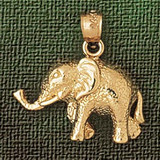 Elephant Charm Bracelet or Pendant Necklace in Yellow, White or Rose Gold DZ-2358 by Dazzlers