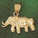 Elephant Charm Bracelet or Pendant Necklace in Yellow, White or Rose Gold DZ-2359 by Dazzlers