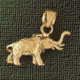 Elephant Charm Bracelet or Pendant Necklace in Yellow, White or Rose Gold DZ-2360 by Dazzlers