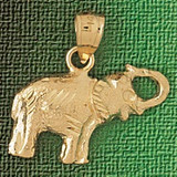 Elephant Charm Bracelet or Pendant Necklace in Yellow, White or Rose Gold DZ-2361 by Dazzlers