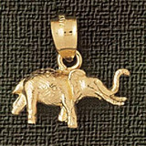 Elephant Charm Bracelet or Pendant Necklace in Yellow, White or Rose Gold DZ-2364 by Dazzlers