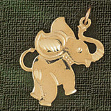 Elephant Charm Bracelet or Pendant Necklace in Yellow, White or Rose Gold DZ-2366 by Dazzlers
