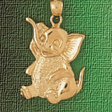 Elephant Charm Bracelet or Pendant Necklace in Yellow, White or Rose Gold DZ-2367 by Dazzlers