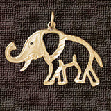 Elephant Charm Bracelet or Pendant Necklace in Yellow, White or Rose Gold DZ-2368 by Dazzlers