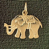 Elephant Charm Bracelet or Pendant Necklace in Yellow, White or Rose Gold DZ-2370 by Dazzlers