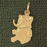 Elephant Charm Bracelet or Pendant Necklace in Yellow, White or Rose Gold DZ-2371 by Dazzlers