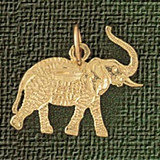 Elephant Charm Bracelet or Pendant Necklace in Yellow, White or Rose Gold DZ-2372 by Dazzlers