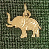 Elephant Charm Bracelet or Pendant Necklace in Yellow, White or Rose Gold DZ-2373 by Dazzlers