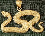Snake Charm Bracelet or Pendant Necklace in Yellow, White or Rose Gold DZ-2414 by Dazzlers
