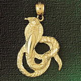 Cobra Snake Charm Bracelet or Pendant Necklace in Yellow, White or Rose Gold DZ-2417 by Dazzlers