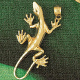 Lizard Charm Bracelet or Pendant Necklace in Yellow, White or Rose Gold DZ-2420 by Dazzlers