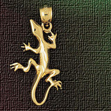 Lizard Charm Bracelet or Pendant Necklace in Yellow, White or Rose Gold DZ-2422 by Dazzlers