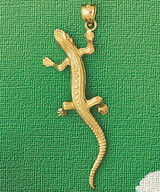 Lizard Charm Bracelet or Pendant Necklace in Yellow, White or Rose Gold DZ-2424 by Dazzlers