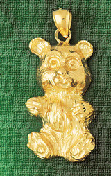 Teddy Bear Charm Bracelet or Pendant Necklace in Yellow, White or Rose Gold DZ-2445 by Dazzlers