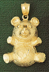Teddy Bear Charm Bracelet or Pendant Necklace in Yellow, White or Rose Gold DZ-2447 by Dazzlers