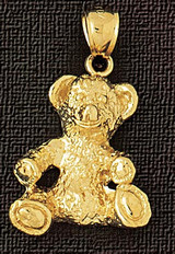 Teddy Bear Charm Bracelet or Pendant Necklace in Yellow, White or Rose Gold DZ-2449 by Dazzlers