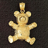 Teddy Bear Charm Bracelet or Pendant Necklace in Yellow, White or Rose Gold DZ-2450 by Dazzlers