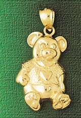 Teddy Bear Charm Bracelet or Pendant Necklace in Yellow, White or Rose Gold DZ-2451 by Dazzlers