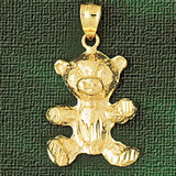 Teddy Bear Charm Bracelet or Pendant Necklace in Yellow, White or Rose Gold DZ-2452 by Dazzlers