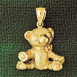 Teddy Bear Charm Bracelet or Pendant Necklace in Yellow, White or Rose Gold DZ-2453 by Dazzlers
