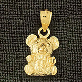 Teddy Bear Charm Bracelet or Pendant Necklace in Yellow, White or Rose Gold DZ-2455 by Dazzlers