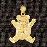 Teddy Bear Charm Bracelet or Pendant Necklace in Yellow, White or Rose Gold DZ-2456 by Dazzlers