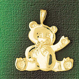 Teddy Bear Charm Bracelet or Pendant Necklace in Yellow, White or Rose Gold DZ-2457 by Dazzlers