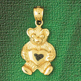 Teddy Bear Charm Bracelet or Pendant Necklace in Yellow, White or Rose Gold DZ-2458 by Dazzlers