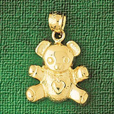 Teddy Bear Charm Bracelet or Pendant Necklace in Yellow, White or Rose Gold DZ-2459 by Dazzlers